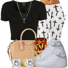 A fashion look from September 2014 featuring Topshop t-shirts, NIKE sneakers and Givenchy handbags. Browse and shop related looks.