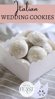Wedding Cookie Recipes, Italian Wedding Cookies, Italian Cookies, Roll Cookies, Candy Cookies, Cupcake Cookies, Cupcakes, White Desserts, Cookie Desserts