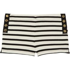Juicy Couture Striped cotton-jersey shorts ($85) ❤ liked on Polyvore featuring shorts, bottoms, juicy couture, pants, cotton jersey, pull on shorts, black and white stripe shorts and stripe shorts