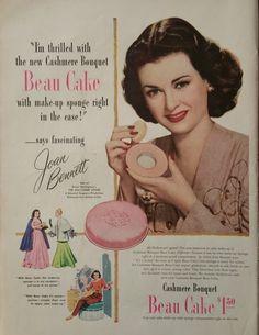 1947 Joan Bennett Beau Cake Make Up Advertisement - Vintage Ads, Beauty Decor, Print Ads, Magazine Advertisement, Beauty ads, Bathroom  Art by Inkart on Etsy https://www.etsy.com/listing/238042861/1947-joan-bennett-beau-cake-make-up