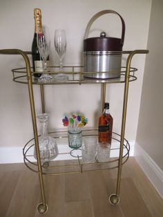 Mid Century Modern Metal Two Tiered Bar Cart by SoulfulVintage, $225.00