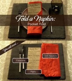 How to make a pocket fold with your napkin. #entertaining101