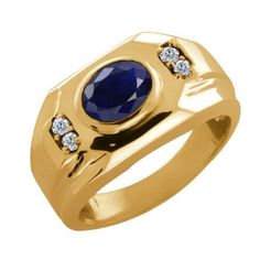 1.86 Ct Oval Blue Sapphire Diamond Yellow Gold Plated Silver Men's Ring Gem Stone King. $186.99. This Item Contains 100% Natural Stones. This item is proudly custom made in the USA