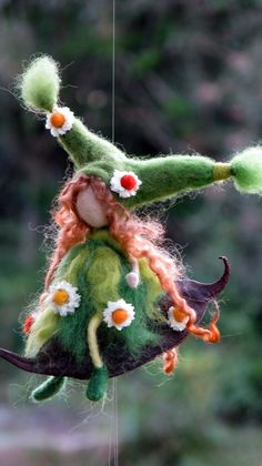 Spring gift mobile Needle felted Art doll Home by Made4uByMagic