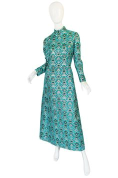1960s Turquoise & Metallic Ikat Brocade Mollie Parnis Dress