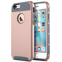 ULAK iPhone Case, iPhone 6 Case, Colorful Series Slim Fit Dual Layer Scratch Resistant Hard Back Cover Shock Absorbent TPU Bumper Case for Apple iPhone 6 inch(Grey+Pink+Minimal Stripes) Iphone 6 Inch, Apple Iphone 6, Buy Iphone 6, Iphone 6 Plus Case, Iphone 7 Cases, Iphone Se, 6s Plus Case, 6 Case, Turquoise