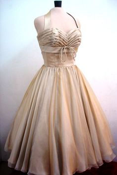 Chiffon 50s Cocktail Dress in Almond.