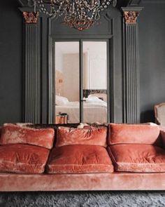 Home Interior Living Room .Home Interior Living Room Living Room Grey, Living Room Decor, Dining Room, High Design, Pink Velvet Sofa, Pink Couch, Velvet Lounge, Red Velvet, Coral Home Decor