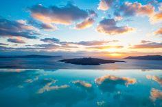 Blue pool, sea and sky! At Cosmopolitan Suites small luxury hotel in #Santorini. www.guestus.com/EN/Europe/Greece/South-Aegean/Santorini/Hotels/Cosmopolitan-Suites/