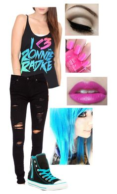 """""""I <3 Ronnie Radke"""" by o2llover13 ❤ liked on Polyvore featuring True Religion and Converse"""