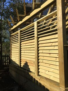 Exterior View of a Louvered Fence Project. The Hardware System FLEXfence is hidden seamlessly but creates an effective look!