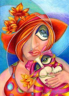 Art: Peachy Keen Kitty by Artist Alma Lee