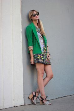 want her green blazer and love it paired with florals.