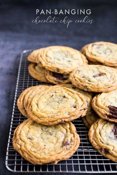 Pan-Banging Chocolate Chip Cookies | Deliciously Declassified Cookie Recipes, Dessert Recipes, Desserts, Christmas Baking, Chocolate Chip Cookies, Vanilla, Chips, Sweets, Sugar