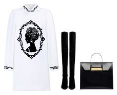 """Untitled #3669"" by michelanna ❤ liked on Polyvore featuring Dolce&Gabbana, Stuart Weitzman, Balenciaga, blackandwhite, polyvorecommunity, polyvoreeditorial, winterwarmth and michelanna"