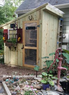 Garden shed made from fence pickets.