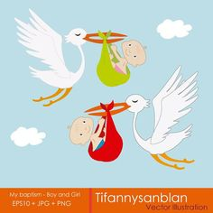 Reminder of christening for boy and girl, stork flying with baby, clipart christening, illustration christening. Children's illustrations Boy Baptism, Christening, Stork, Boy Or Girl, Rooster, Clip Art, Illustrations, Babies, Etsy