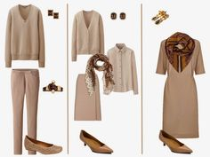 Beige Outfits with Accessories in Celadon Green, Brown and Light Blue