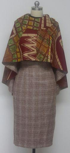 Reversible Versatile Hi-Lo Cape and Wool Blend Pencil Skirt. African Print…