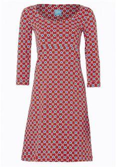 Tante Betsy kjole BIBI red'n'blue retroblomster mønsterprint rød med lyseblå