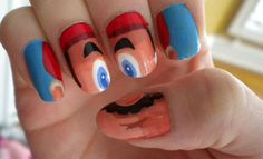 Hmmmm...Mario Nails.  I'm not sure about this one. Creepy or cool?  : )@Karen Jacot Jacot Franz
