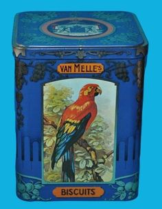 Tin box birds Van Melle biscuits 1930s / 1940s.