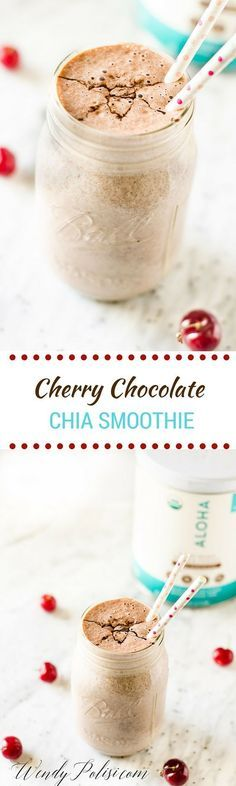 Cherry Chocolate Chia Smoothie - This delicious vegan & gluten free smoothie is packed with nutrients. With cherries, chia seeds, almond milk, and plant based and organic ALOHA chocolate protein powder, you can power up on superfoods! #eatpurebepowerful #alohaxtarget #ad