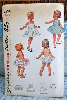 Simplicity 3296 - Little Girls' Slips & Panties - Lingerie Undergarments - Ruffle Butt - Size 4 - Vintage - UNUSED - Kawaii Cute Full Support Bras, Girls Slip, Nursing Pads, Little Dresses, Baby Dresses, Kawaii Cute, Vintage Lingerie, Vintage Sewing Patterns, Patrones