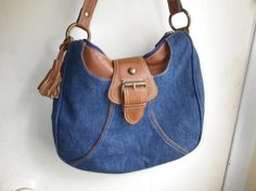LADIES DENIM HAND BAG TRIMMED IN LEATHER. FREE SHIPPING AND FREE PHOTONS.
