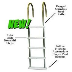 Challenger In Pool Ladder Stainless Steel Ladder - Above Ground. This super strong ladder brings the quality and strength of an in-ground ladder to your above-ground pool! The ladder is top quality and makes exiting and entering your pool easier than ever before. Super strong stainless steel rails allow the ladder to easily accommodate 225 lbs. This Standard model features polymer non-skid steps that are extra deep for sure footing. The base of the ladder pivots to conform to sloping bottoms…
