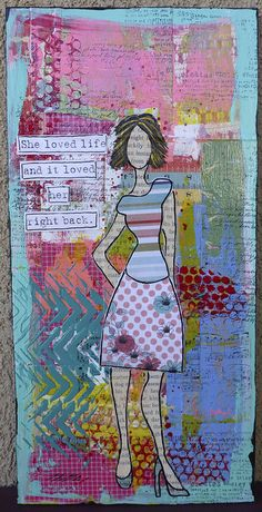"She loved life and it loved her right back, via Flickr. -- using the Balzer Designs ""Chevron"" stencil"