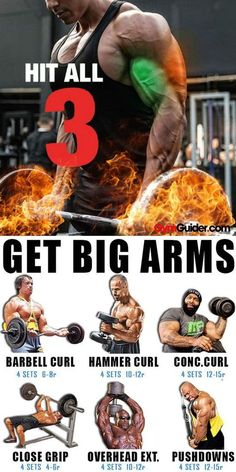 The Best Bulging Bigger Biceps Workout To Grow Your Arms If you want muscular, strong, and defined arms that you can be proud of, then you want to do these arm exercises and workouts. You can make an arm workout an arms only day where you do Big Biceps Workout, Arm Workout Men, Gym Workout Tips, Weight Training Workouts, Full Arm Workout, Chest And Arm Workout, Full Upper Body Workout, Workout Routines, Workout Plans