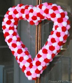 easy pom pom heart wreath, crafts, how to, seasonal holiday decor, valentines da. Fun Valentines Day Ideas, Valentine Day Wreaths, Valentines Day Decorations, Valentine Day Crafts, Valentine Heart, Holiday Crafts, Holiday Decor, Printable Valentine, Homemade Valentines