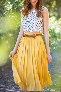 Kaitlyn Yellow Pleated Midi Skirt