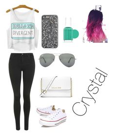 """""""Untitled #43"""" by bludiamonds26 ❤ liked on Polyvore featuring moda, Topshop, Converse, MICHAEL Michael Kors, Ray-Ban y Essie"""