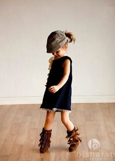 Gracie Mae Kids --  Little girl's little black dress and boots. How sassy and fun!
