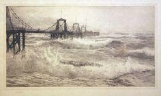 William Lionel Wyllie (1851-1931) - View of the Chain Pier, Brighton, monochrome etching