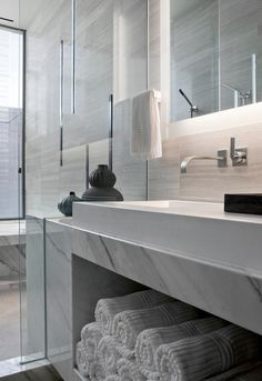 Modern Master Bathroom with Marble.com Mountain White Danby Marble, Sirius Single Handle Wall Mount Vessel Faucet
