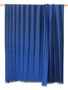 Paulette Rollo Midnight Pointed Throw. Royal Blue and Indigo. Jacquard. Extra fine merino. Woven in Scotland.