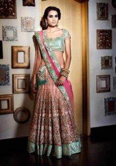 Green And Peach Color Silk Floral Embroidered Lace Border Lengha