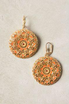 Anthropologie Coeur Bloom Drops Earrings, Orange & Gold Filigree Rounds  #Anthropologie #DropDangle