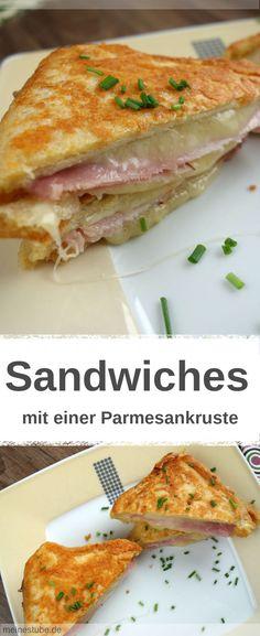 Rezept für ein leckeres Sandwiches mit Parmesan-Kruste. Im innern gekochten Schinken und Käse. Super als Frühstück oder einfach für zwischen durch #sandwiches #toast #käse