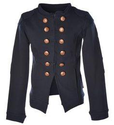 Flo double breasted uni blazer. Dit sweat jack, model Maggi, is voorzien van steekzakjes aan de voorzijde, applicaties op de schouders en elleboogstukken op de lange mouwen - Navy - NummerZestien.eu