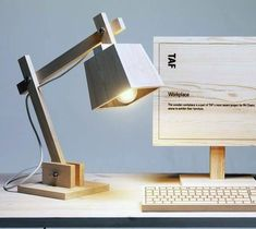 Wood Lamp By TAF Architects / Wood desk lamp is designed by TAF Architects as a contrast to modern high-tech lights.  http://thegadgetflow.com/portfolio/wood-lamp-by-taf-architects-295/