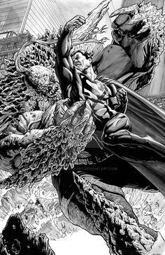 Superman vs Doomsday by TonyParkerArt.deviantart.com on @DeviantArt