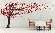 Huge Tree Blowing in the Wind Vinyl Wall Decal Sticker For Nursery or Home