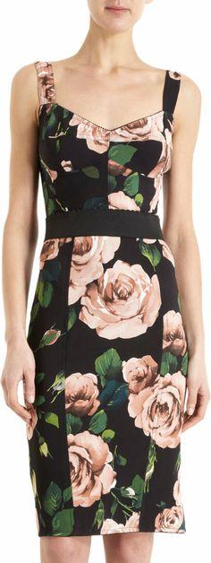 Dolce & Gabbana Rose-Print Bustier Dress