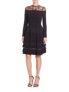 ELIE SAAB - Knit & Lace Long-Sleeve Dress