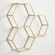 May 2020 - 3 Honeycomb Hexagon Wall Shelf Display Matte Gold Finish Metal & Glass Gold Room Decor, Gold Rooms, Gold Bedroom, Cute Room Decor, Gold Walls, Room Decor Bedroom, Target Room Decor, Diy Crafts Room Decor, Gold Office Decor