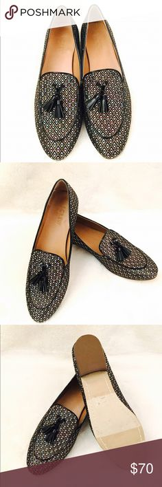 J. Crew Loafer with tassel and adorable print. Brand new with out box. These fabric Loafer from J. Crew has a beautiful print mixed with matallic blue, red,and gold. The patent black trim adds a fabulous total look of the shoes. Original $118. J. Crew Shoes Flats & Loafers